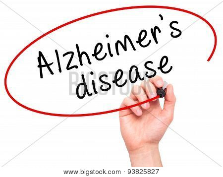 Man Hand writing Alzheimer's disease with black marker on visual screen.
