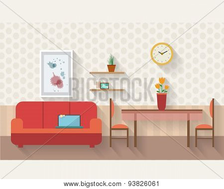 Living room and dining room with furniture