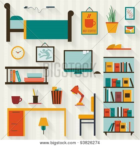 Room interior with furniture icon set