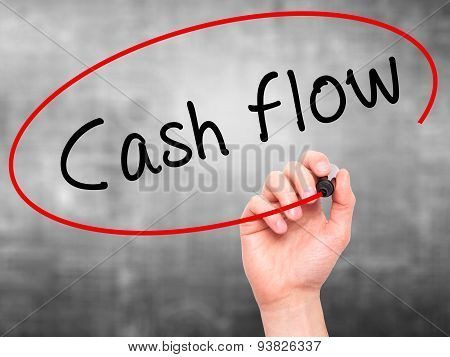 Man Hand writing Cash flow with black marker on visual screen.