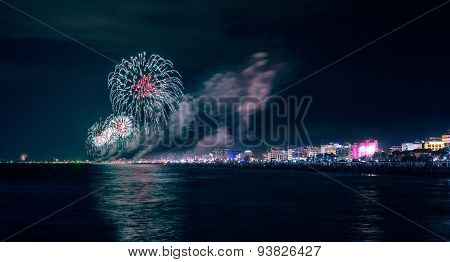 Fireworks Explosion On Adriatic Sea Riviera For Celebrating Rimini Notte Rosa Summer Feast
