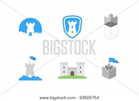 castles flat vector symbols for branding
