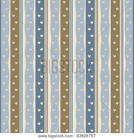 Modern background with hearts and stripes