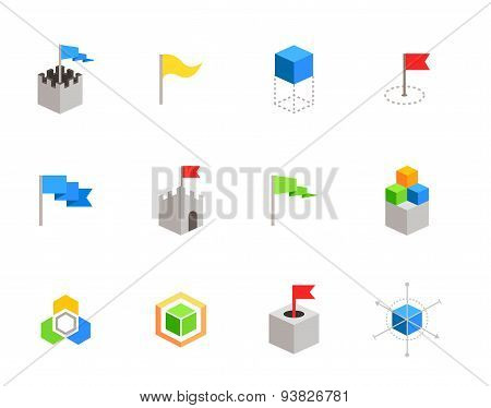 castles and cubes flat vector symbols for branding