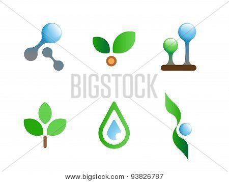 nature flat vector symbols for branding