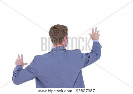 Businessman gesturing with hands on a white background