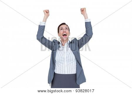 Fortunate businesswoman celebrating a success on a white background