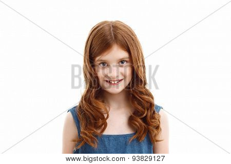 Cheerful little girl smiling