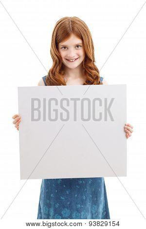 Positive girl holding white board
