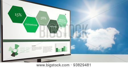 Business interface against bright blue sky with clouds