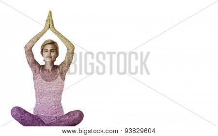 Fit woman doing yoga against astro turf surface