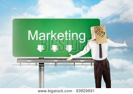 Anonymous businessman with arms out against signpost showing marketing direction