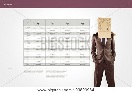 Anonymous businessman with hands in pockets against business interface with graphs and data