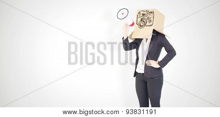 Anonymous businesswoman holding a megaphone against white background with vignette