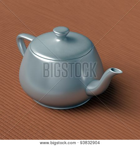 teapot on a bamboo mat