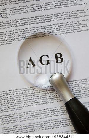 Terms enlarged on a paper with magnifying glass