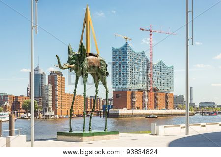 Dali Sculpture Space Elephant at the Elbe river
