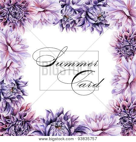 Greeting Card With Lilac Dahlia.