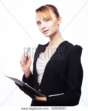 Business, people and office concept: young business woman with blank paper, reading and writing