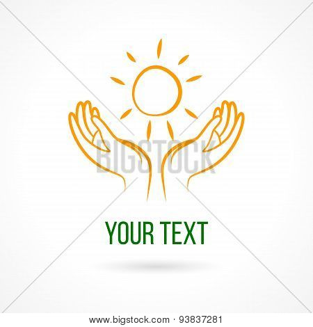 Logo with hands and sun