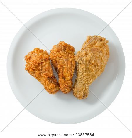 Top View Of Fried Chicken Wings On White Dish