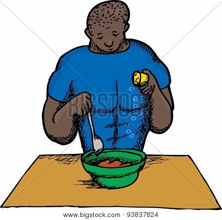 Isolated Cartoon Of Man Cooking