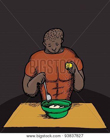 Cartoon Of Strong Man Cooking