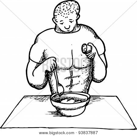 Outline Of Strong Man Cooking