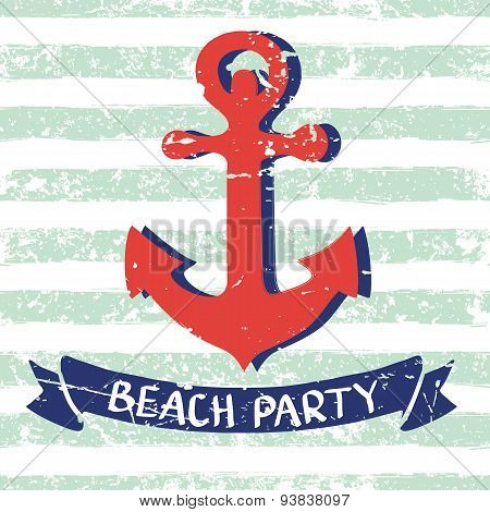 Vector Marine Background. Red Hand Drawn Anchor, Ribbon, Letters On Seamless Stripe Pattern.