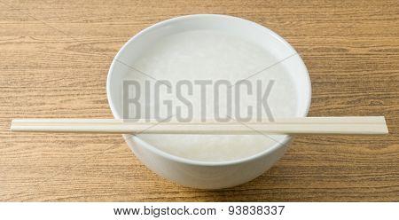 Bowl Of Soft Boiled Rice Or Rice Porridge
