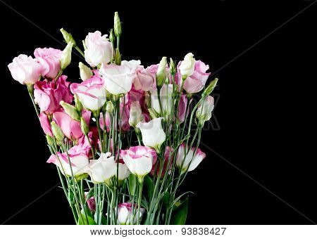 Beautiful bunch of lisianthus flowers on black