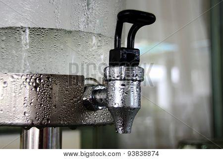 Close Up Water Drop At Cooler Matchine