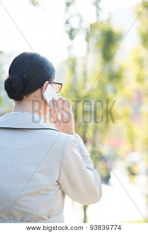 Rear view of businesswoman using cell phone outdoors