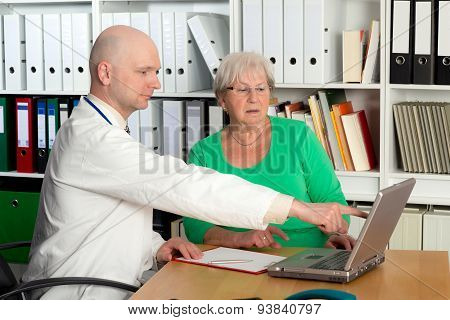 Doctor In Interview With A A Female Senior