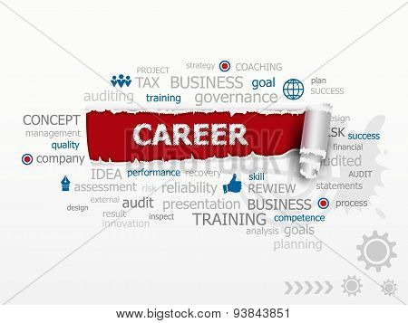 Business And Career Word Cloud. Design Illustration Concepts For Business