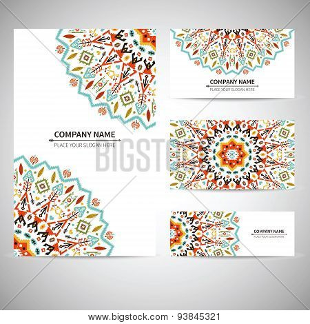 Business card template. Vector illustration in native style