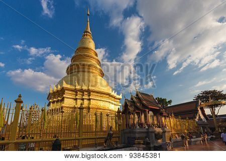 The shrine of the Phra That Hariphunchai temple in Lamphun, Thailand