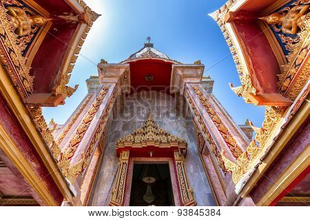 Dynamic view the Wat Chalong Buddhist temple entrance in Chalong, Phuket, Thailand
