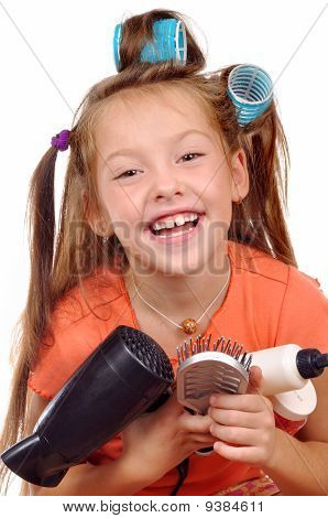 Girl With A Comb On A White Background