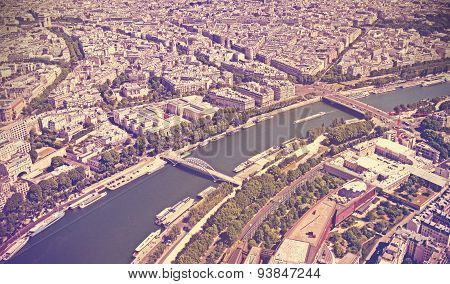 Retro Toned Panoramic View Of Paris, France.