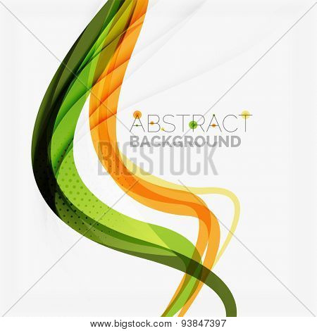 Orange and green wave line design, nature eco concept. Summer and spring templates
