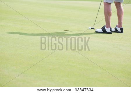 Low section of middle-aged man playing golf