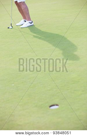 Low section of middle-aged man playing golf at course