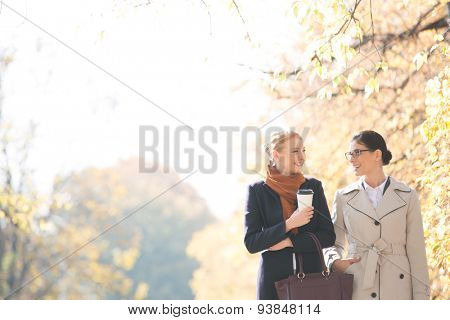 Happy businesswomen conversing while walking at park on sunny day