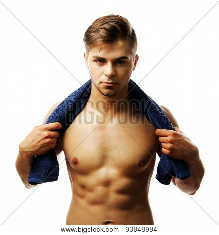 Muscle young man holding towel isolated on white