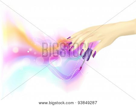 Cropped Illustration of a Woman Playing with Nail Polish - EPS10