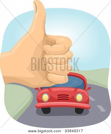 Cropped Illustration of a Person Doing the Hitchhiking Sign