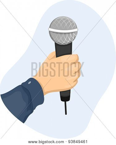 Cropped Illustration of a Person Holding a Wireless Microphone