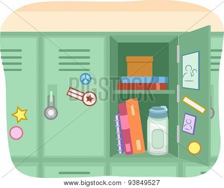 Illustration of an Open Locker with Books and a Water Bottle Inside