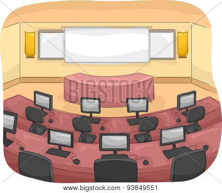 Illustration of a Multimedia Room with Individual Computers Assigned to Each Seat